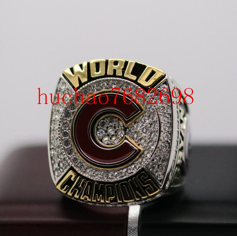C LOGO FRONT 2016 Chicago Cubs MLB World Seires Championship Ring 7-15 Size MVP Kris Bryant