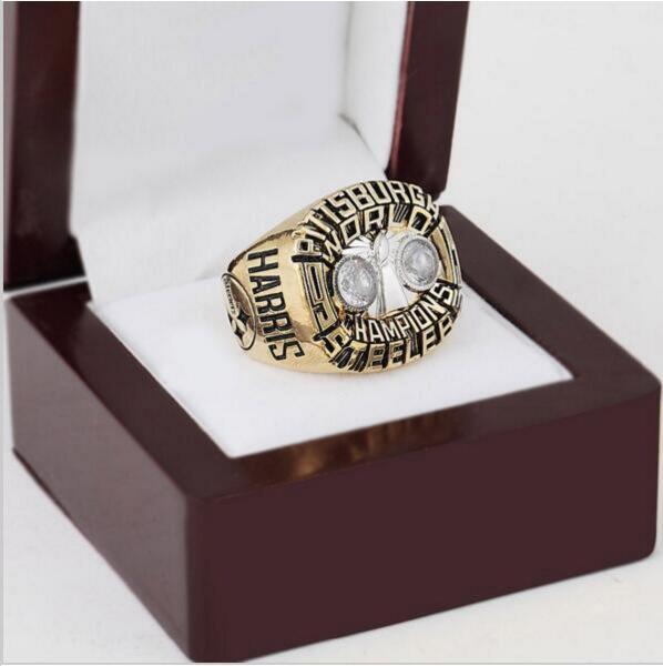 1975 Pittsburgh Steelers NFL Super Bowl Championship Ring 10 size with cherry wooden case
