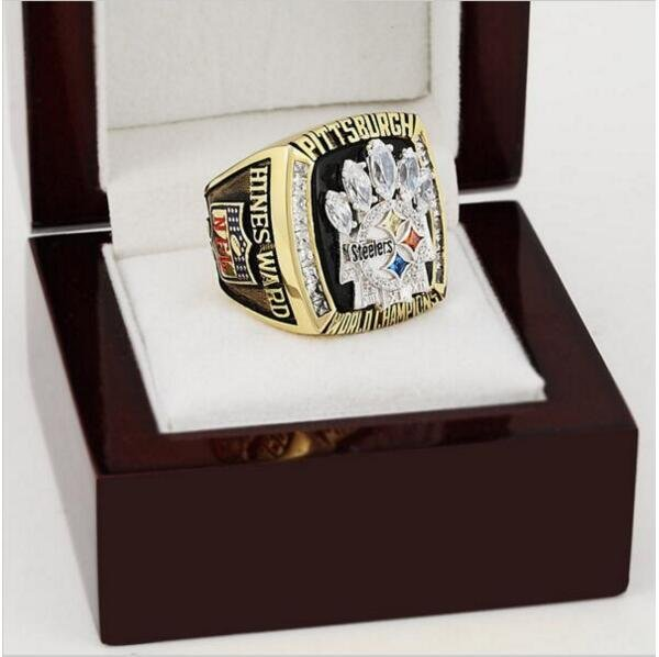 2005 Pittsburgh Steelers NFL Super Bowl Championship Ring 11 size with cherry wooden case