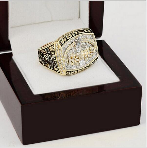 1999 St. Louis Rams Super Bowl Football Championship Ring Size 12 With High Quality Wooden Box