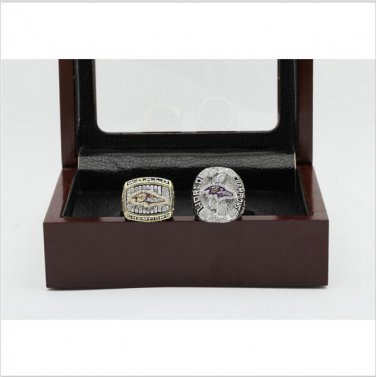 One Set (2PCS) 2000 And 2012 Baltimore Ravens Championship Ring Size 11 With Wooden Box