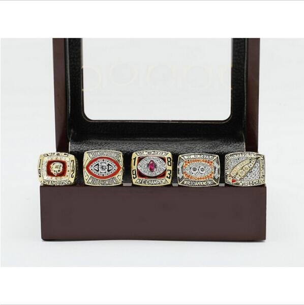 One Set (5PCS) WASHINGTON REDSKINS Super Bowl Championship Ring Size 12 With Wooden Box