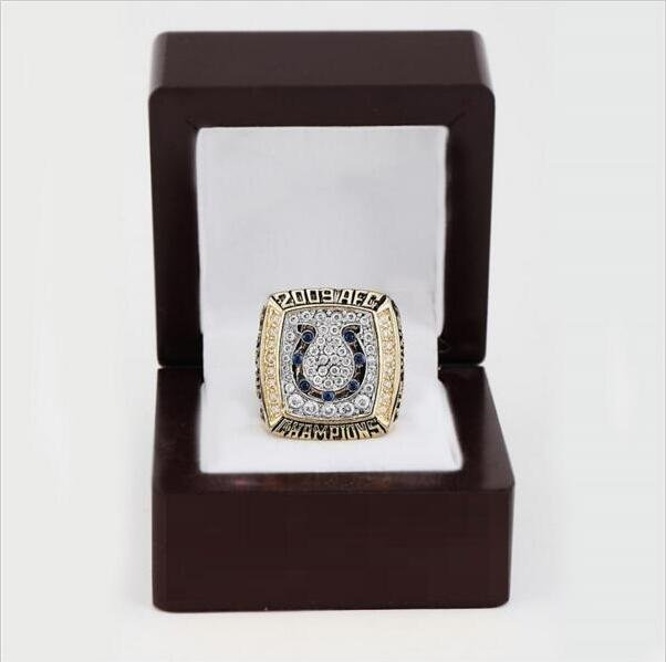 2009 Indianapolis Colts AFC FOOTBALL Championship Ring 10 size with cherry wooden case as a gift