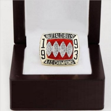 1993 Buffalo Bills AFC FOOTBALL Championship Ring 10 size with cherry wooden case as a gift