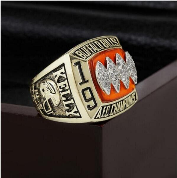 1993 Buffalo Bills AFC FOOTBALL Championship Ring 12 size with cherry wooden case as a gift