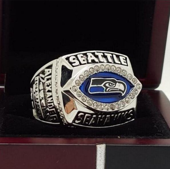 2005 Seattle Seahawks NFC Super Bowl FOOTBALL Championship Ring 7-15 Size Copper Engraved Inside