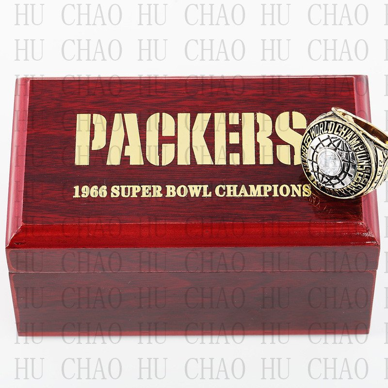Year 1966 Green Bay Packers Super Bowl Championship Ring 10-13 Size  With High Quality Wooden Box