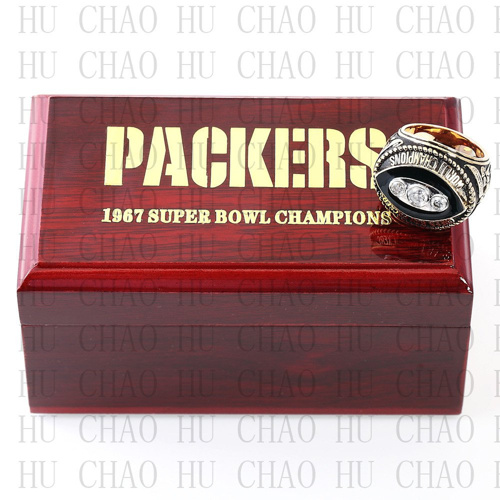 1967 Green Bay Packers Super Bowl Championship Ring 10 Size  With High Quality Wooden Box