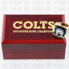 Team Logo wooden case 1970 Baltimore Colts Super Bowl Championship Ring 12 size