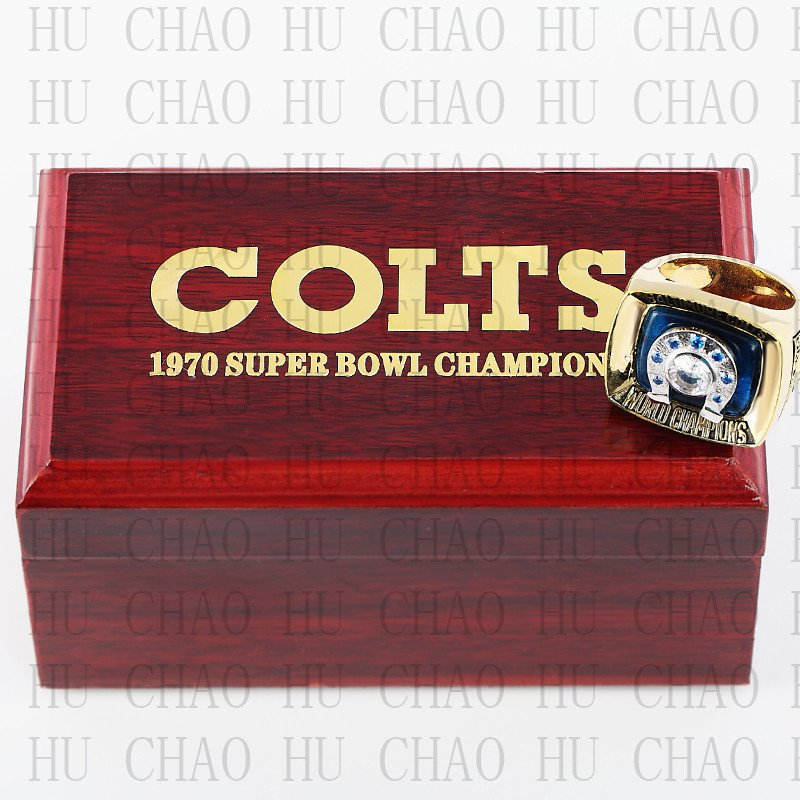 Team Logo wooden case 1970 Baltimore Colts Super Bowl Championship Ring 13 size