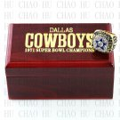 Team Logo wooden case 1971 Dallas Cowboys Super Bowl Championship Ring 10 size solid back