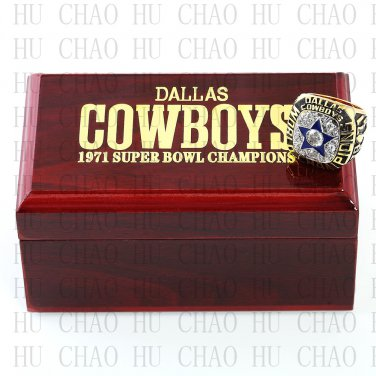Team Logo wooden case 1971 Dallas Cowboys Super Bowl Championship Ring 11 size solid back