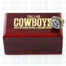 Team Logo wooden case 1971 Dallas Cowboys Super Bowl Championship Ring 12 size solid back