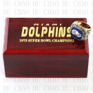 Team Logo wooden case 1973 Miami Dolphins Super Bowl Championship Ring 11 size solid back