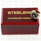 Team Logo wooden case 1974 Pittsburgh Steelers Super Bowl Championship Ring 10-13 size solid back