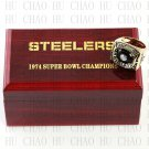 Team Logo wooden case 1974 Pittsburgh Steelers Super Bowl Championship Ring 12  size solid back