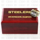 Team Logo wooden case 1975 Pittsburgh Steelers Super Bowl Championship Ring 10-13 size solid back