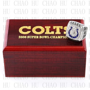 Year 2006 Indianapolis Colts Super Bowl Championship Ring 10-13 Size  With High Quality Wooden Box