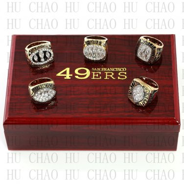 1981 1984 1988 1989 1994 San Francisco 49ers Super Bowl Championship Ring With Wooden Box