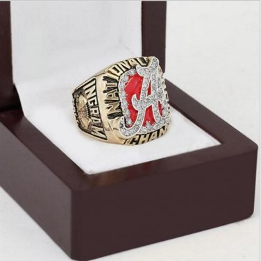 2009 Alabama Crimson Tide NCAA Football Championship Ring 10-13 size with cherry wooden case as a