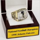 1998 Atlanta Falcons NFC Football Championship Ring 10 size with cherry wooden case