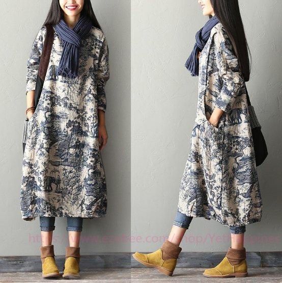 Women Loose Fit Printing Dress