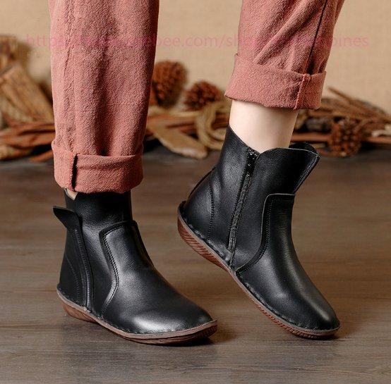 Women Vintage Leather Short Boots