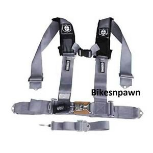 "New Pro Armor Silver 5 Point Safety Harness Seat Belt RZR 3"" Pads A115230SV"