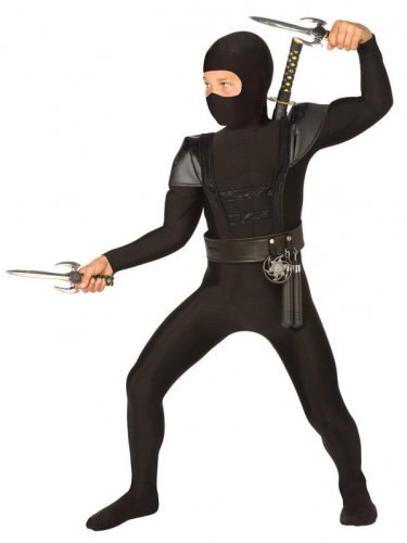 Size 4-6 BLACK FIGHTER NINJA COSTUME FOR CHILDREN  SWWHC803890