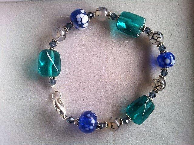 Oceanic glass and semi precious stone bracelet