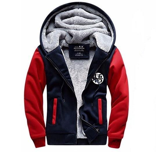 Dragon Ball Goku Cosplay Go Symbol Zipper Red Navy Hooded Jacket