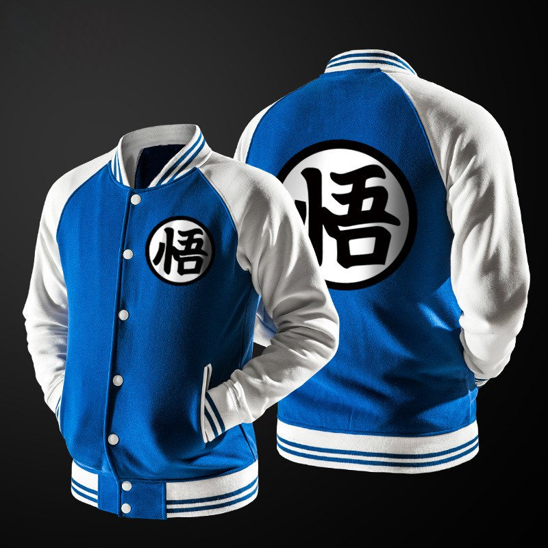 Dragon Ball Goku Mandarin Collar Blue Autumn Baseball Varsity Jacket