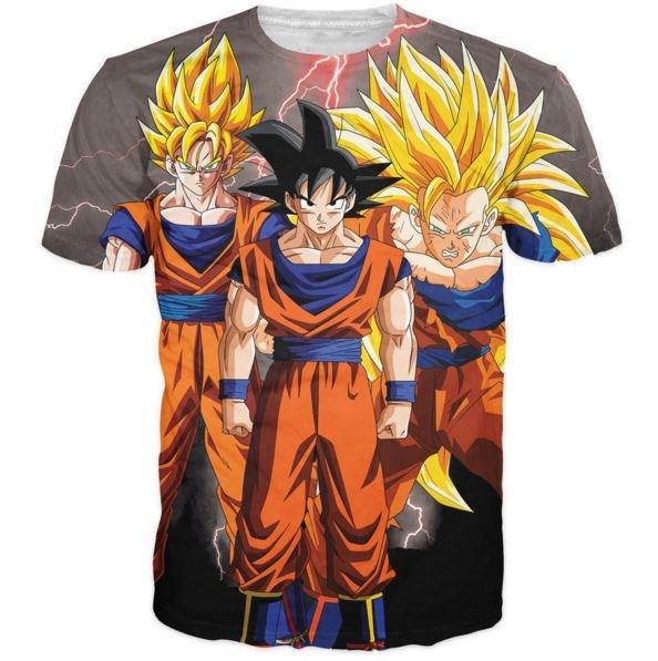 Goku Transformation Thunder Black Super Saiyan All Over T-Shirt