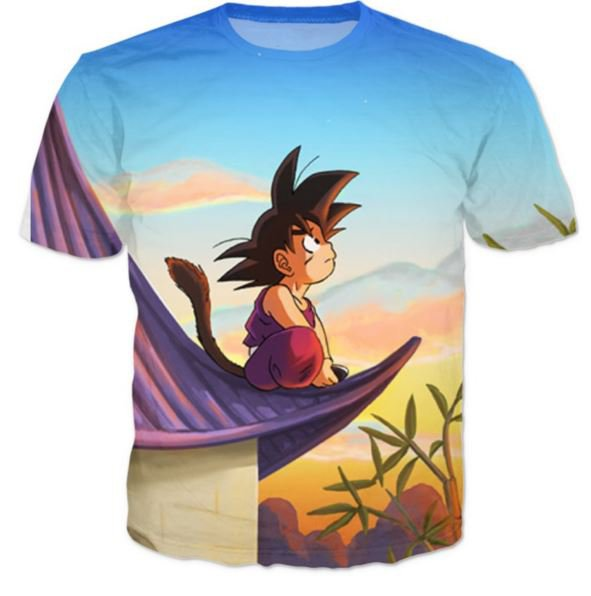 DBZ Cute Kid Goku Sitting Sky All Over Print T-Shirt
