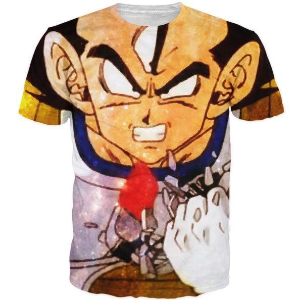 Angry Prince Vegeta Painting Art Style Full Print T-Shirt