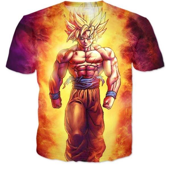 SSJ2 Son Goku Super Saiyan 2 Flame Fire 3D T-Shirt
