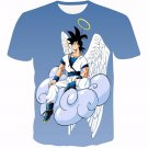Angel Goku Sitting on the Cloud Blue 3D T-Shirt