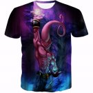 Kid Buu Spirit Ball Destruction Dark 3D Blue T-Shirt