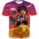 Kid Goku & Chichi Flying on Golden Cloud 3D T-Shirt