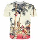 Palm Tree Cute Kid Goku Master Roshi Vintage Beige T- Shirt