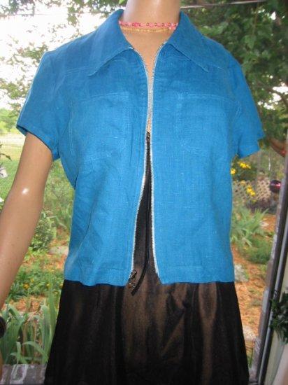 Teal Vintage Linen ZIP crop TOP Jacket  M
