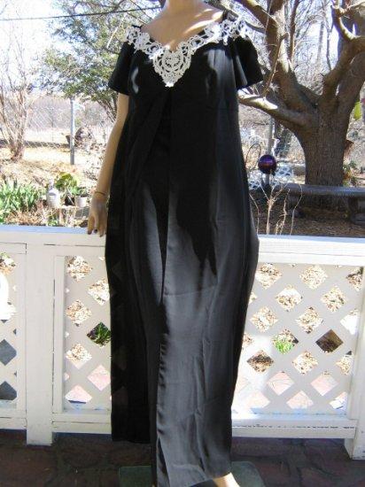sold mc ??Floaty Chiffon Black satin Formal Dress evening Gown 14W
