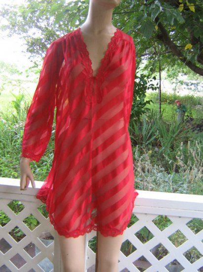 sold Vintage Jenelle Nightgown Babydoll Tunic SHEER Top Peignoir  L