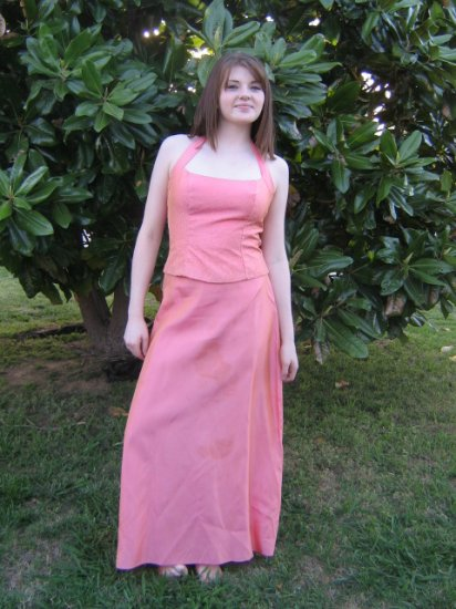 FAB vintage BEADED Halter top Satin Skirt PROM Dress S