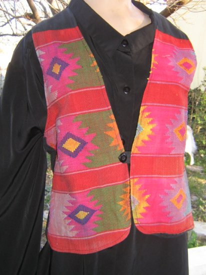 Cowgirl  Western Pretty Native Indian Print Tapestry Vest
