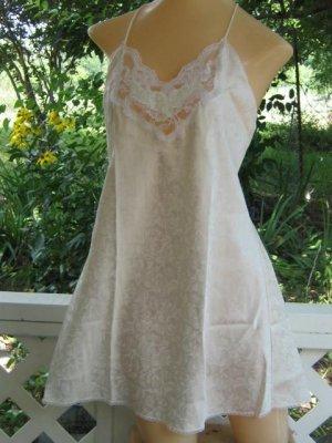 Bridal white Brocade Lace  Babydoll Teddie Chemise Top M