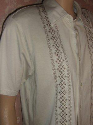 VLV vintage Men's Embroidered Rockabilly cream Shirt  S  M