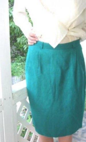 Darling classic Teal LINEN Liz Claiborne Ladies Pencil Skirt size 8