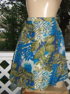 Luxe Silk Vintage 70s hawaiian Skort Mini Skirt Shorts Sarong S M