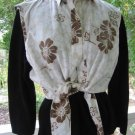Sleeveless Vintage Khaki Crop Top Shirt western Hippie M L